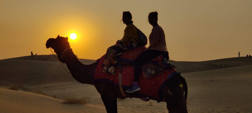 Sunset at Jaisalmer, in the Thar desert. Witness the best of Rajasthan Tourism with the tour offered here.
