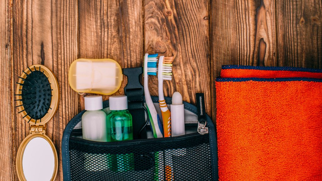 A toiletries kit for backpacking.