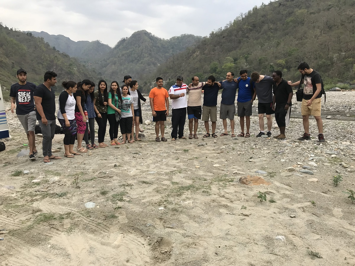Group at the river bed