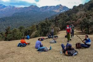 Lunch at Bugyalduring Trekking from Deoriatal to Chopta