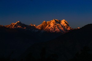 last rays at Chaukhamba as visible from Deoriatal