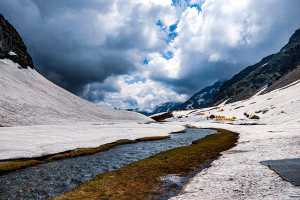 Upper Waterfall campsite / Rupin Pass/Captured in June