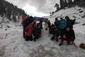 Group with Snow Man at Kareri Lake