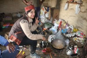 Trekker showing us her cooking skills