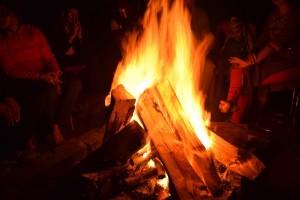 Bonfire at the Parashar Lake Campsite