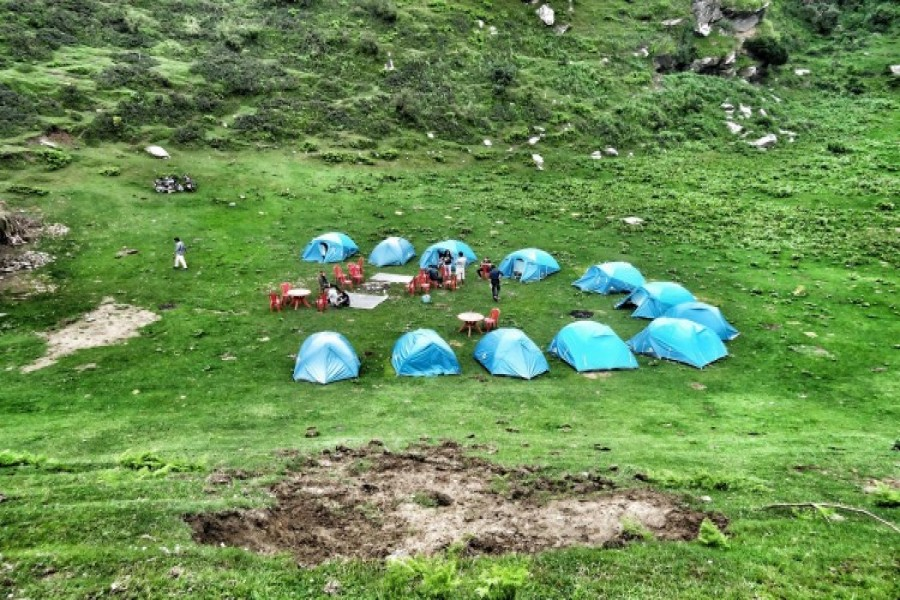 View of Campsite from nearby Hill