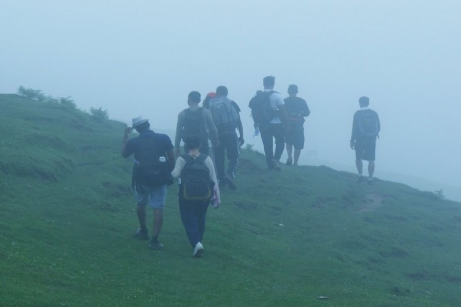 Group on its way back to Baggi village